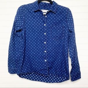 Madewell button down polka dot denim shirt size S